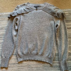 TOPSHOP Gray Shoulder Ruffle Sweater Size 6